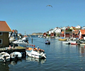 Norra hamnen på Gullholmen en sommardag Foto: Lars Nordström
