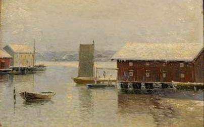Vintermorgon Gullholmen, Arvid Ahlberg - Olja ca 1890