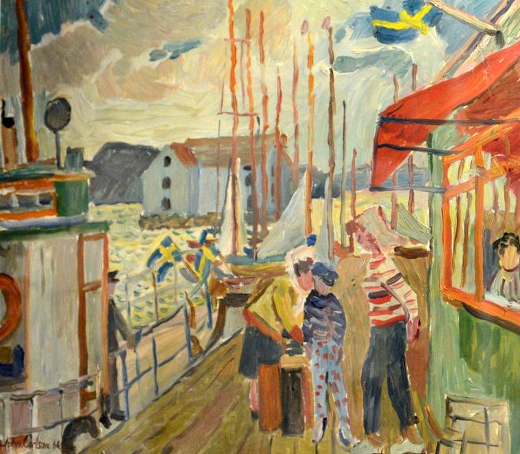 Hamnbild Gullholmen, John Carlsson - Olja 1966