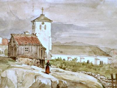 Marstrands kyrka, J C Berger - Akvarell 1837